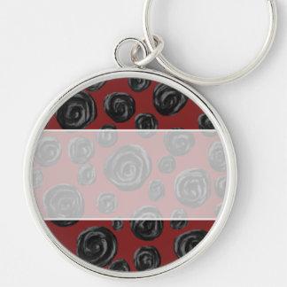 Dark red and black rose pattern. keychain