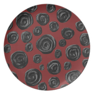 Dark red and black rose pattern. melamine plate
