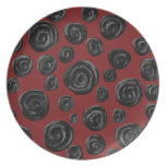 Dark red and black rose pattern. party plates
