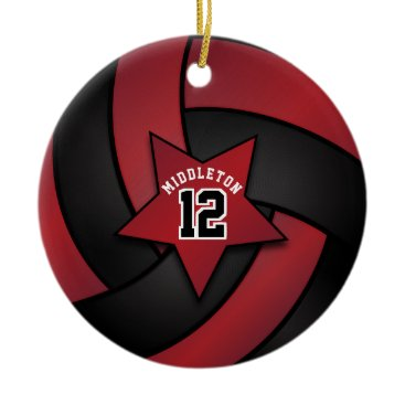 Beach Themed Dark Red and Black Star Volleyball Ceramic Ornament