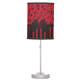 Dark Red and Black Striped Leopard Print Table Lamp