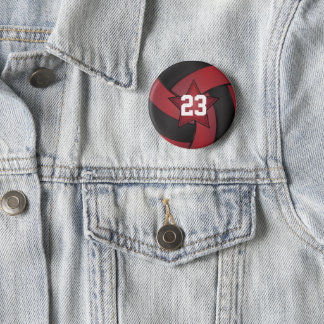 Dark Red and Black Volleyball Star Players Button