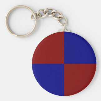 Dark Red and Blue Rectangles Basic Round Button Keychain