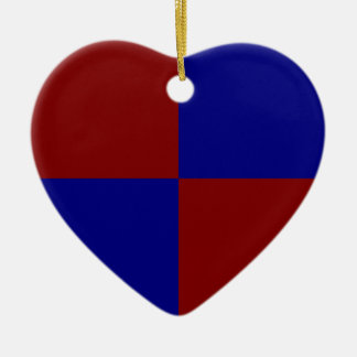 Dark Red and Blue Rectangles Ceramic Ornament