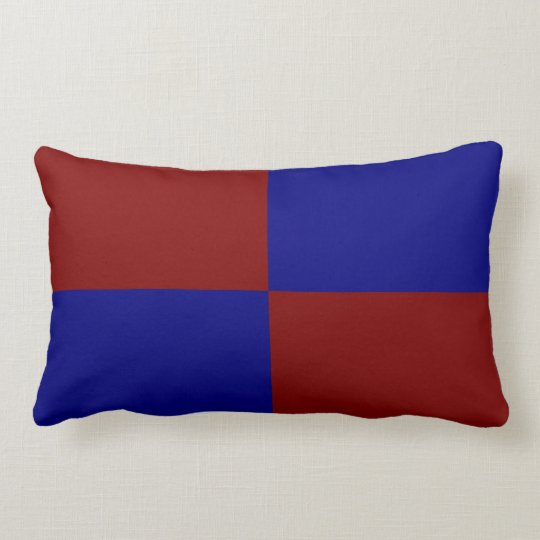 Dark Red and Blue Rectangles Lumbar Pillow