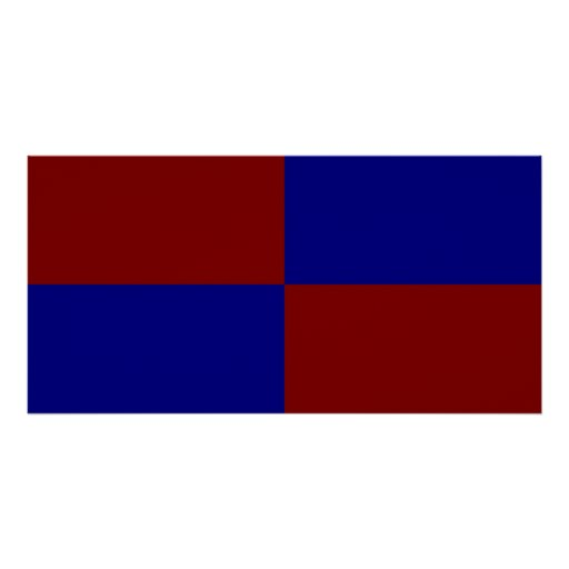 Dark Red and Blue Rectangles Poster