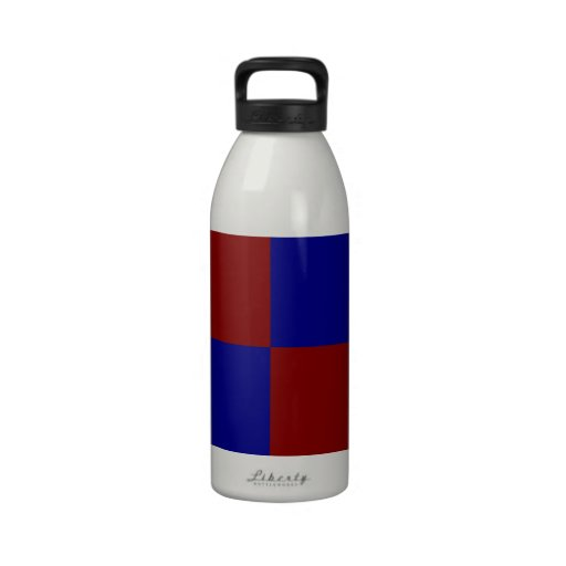 Dark Red and Blue Rectangles Reusable Water Bottle