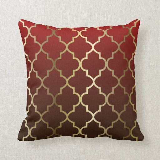 Dark Red Decorative Pillow : Dark Red and Brown Blend Gold Quatrefoil Pattern Throw Pillows Zazzle