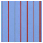 [ Thumbnail: Dark Red and Cornflower Blue Lines Fabric ]