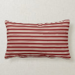 Dark Red and Cream Candy Cane Stripes Throw Pillows