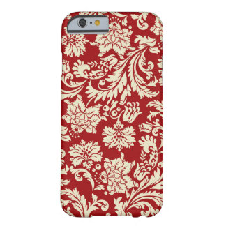 Dark Red And Cream Vintage Floral Damasks Barely There iPhone 6 Case