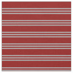 [ Thumbnail: Dark Red and Dark Grey Striped Pattern Fabric ]