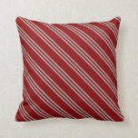 [ Thumbnail: Dark Red and Dark Grey Striped Pattern Pillow ]