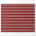[ Thumbnail: Dark Red and Dark Grey Striped Pattern Wrapping Paper ]
