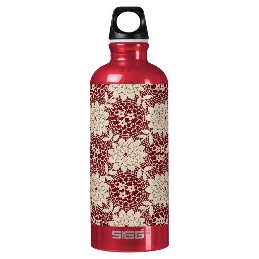 dark red and ecru floral lattice pattern SIGG traveler 0.6L water bottle