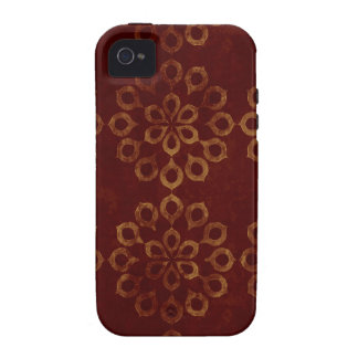 Dark Red and Gold Flower Pattern iPhone 4/4S Covers
