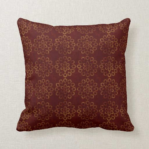 Dark Red Decorative Pillow : Dark Red and Gold Flower Pattern Throw Pillow Zazzle