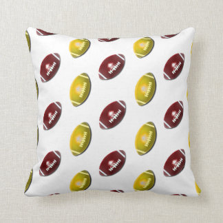 Dark Red and Gold Football Pattern Throw Pillows