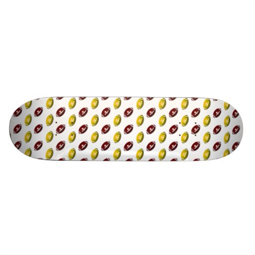 Dark Red and Gold Football Pattern Skate Deck