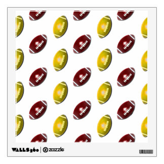 Dark Red and Gold Football Pattern Wall Sticker