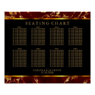 Dark Red and Gold Marble - 10 Seating Chart