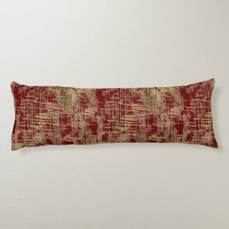Dark Red and Gold Modern Art Body Pillow