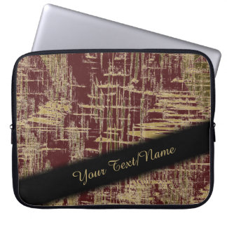 Dark Red and Gold Modern Art Laptop Sleeve