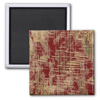 Dark Red and Gold Modern Art Magnet