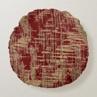 Dark Red and Gold Modern Art Round Pillow