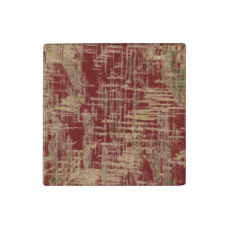Dark Red and Gold Modern Art Stone Magnet