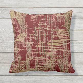 Dark Red and Gold Modern Art Throw Pillow