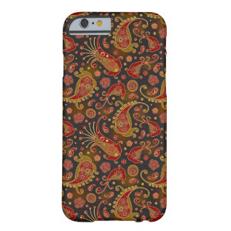 Dark Red and Gold Paisley Pattern Barely There iPhone 6 Case