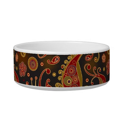 Dark Red and Gold Paisley Pattern Cat Water Bowl