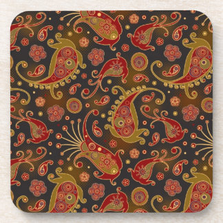 Dark Red and Gold Paisley Pattern Coaster