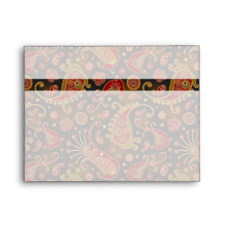 Dark Red and Gold Paisley Pattern Envelope