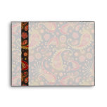 Dark Red and Gold Paisley Pattern Envelopes