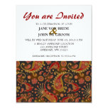 """Dark Red and Gold Paisley Pattern 4.25"""" X 5.5"""" Invitation Card"""