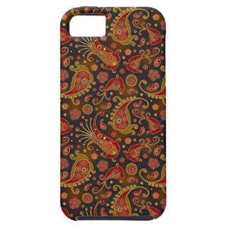 Dark Red and Gold Paisley Pattern iPhone SE/5/5s Case