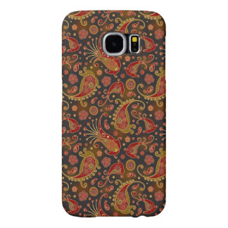 Dark Red and Gold Paisley Pattern Samsung Galaxy S6 Cases