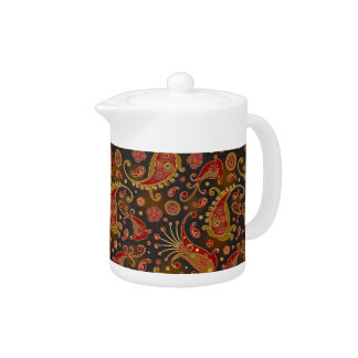 Dark Red and Gold Paisley Pattern Teapot