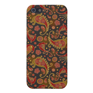Dark Red and Gold Paisley Pern Cover For iPhone SE/5/5s