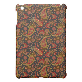 Dark Red and Gold Paisley Pern Cover For The iPad Mini