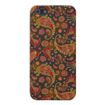Dark Red and Gold Paisley Pern iPhone 5 Cases