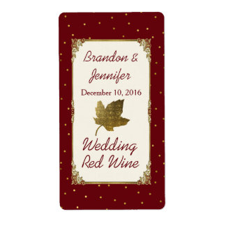 Dark Red and Golden Leaf Wedding Mini Wine Labels