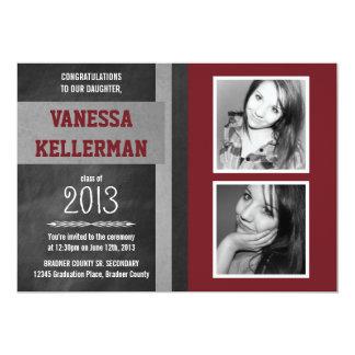 Dark Red and Gray 2 Photo Chalkboard Graduation 5x7 Paper Invitation Card