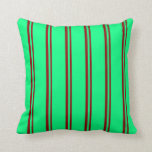[ Thumbnail: Dark Red and Green Lined/Striped Pattern Pillow ]