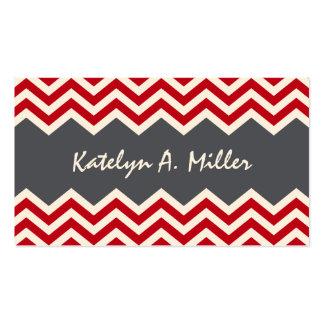 Dark red and grey chevron pattern calling card
