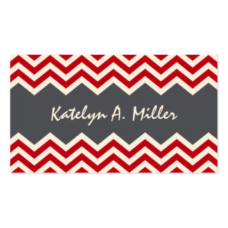 Dark red and grey chevron pattern calling card business card template