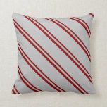 [ Thumbnail: Dark Red and Grey Striped/Lined Pattern Pillow ]