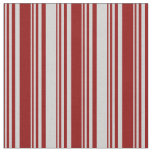 [ Thumbnail: Dark Red and Light Grey Lined Pattern Fabric ]